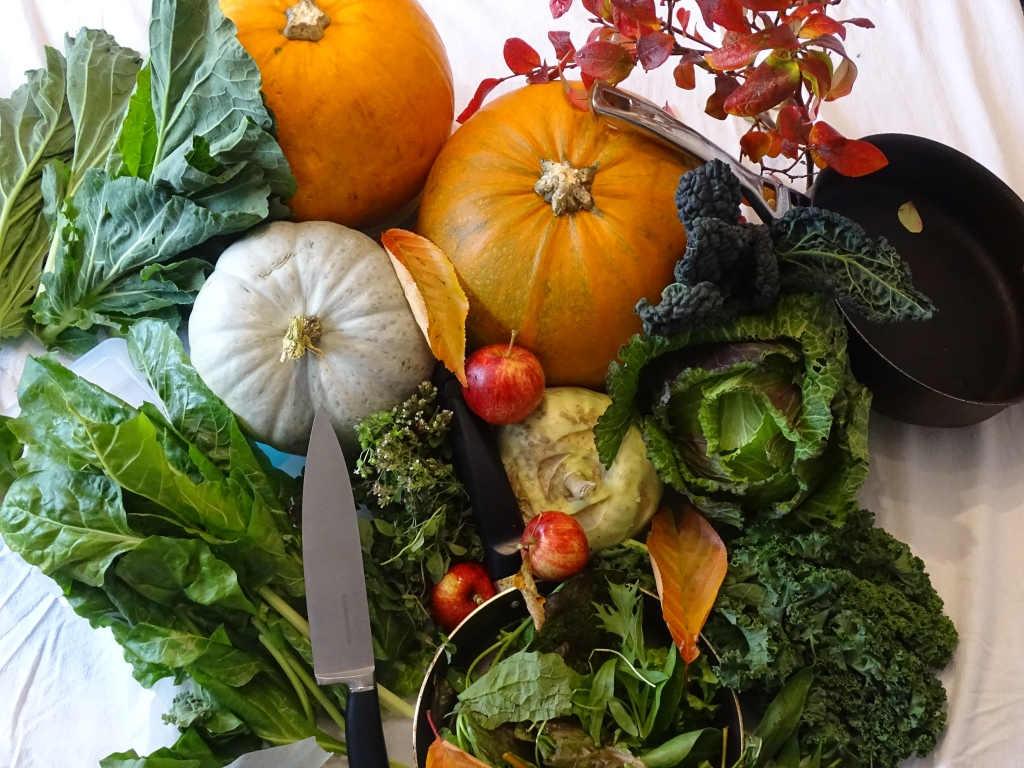 pumpkins, kale, herbs, kholrabi, spinach, collard greens, january cabbage, apples, mixed lettuces