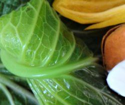 cabbge leaf, sweet potato, pepper