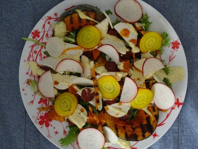 plata, squash, beet, chorizo, salad leaves