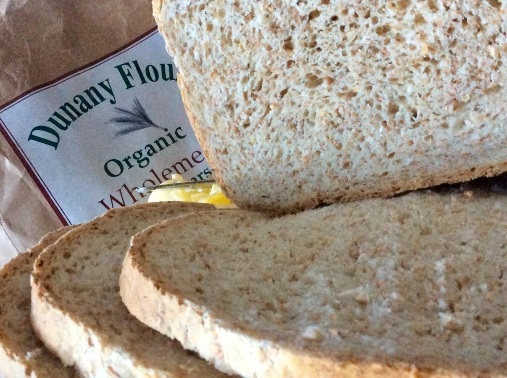 Wholemeal bread sliced, bag of flour