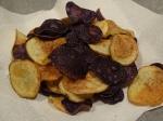 purple, white potato crisps