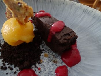 Chocolate Marquise, Clemintine Sorbet, Peant Rayu Brittle, Chocolate Soil & raspberry.