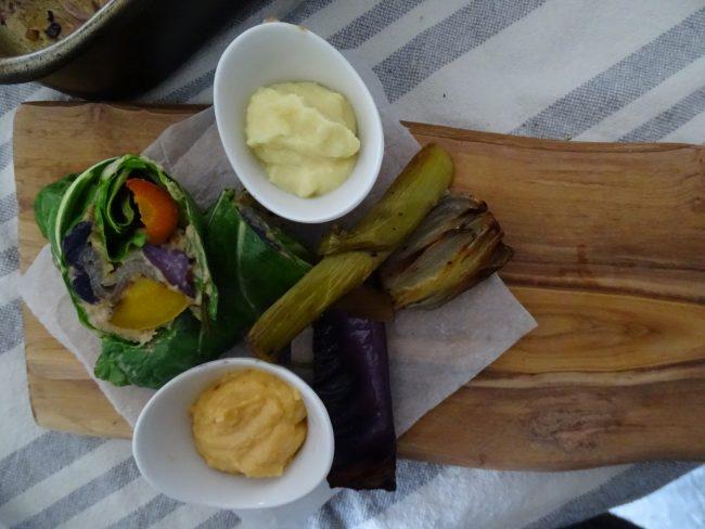 Slow roasted winter veg' cannellini bean humous with celeriac & harissa mayo