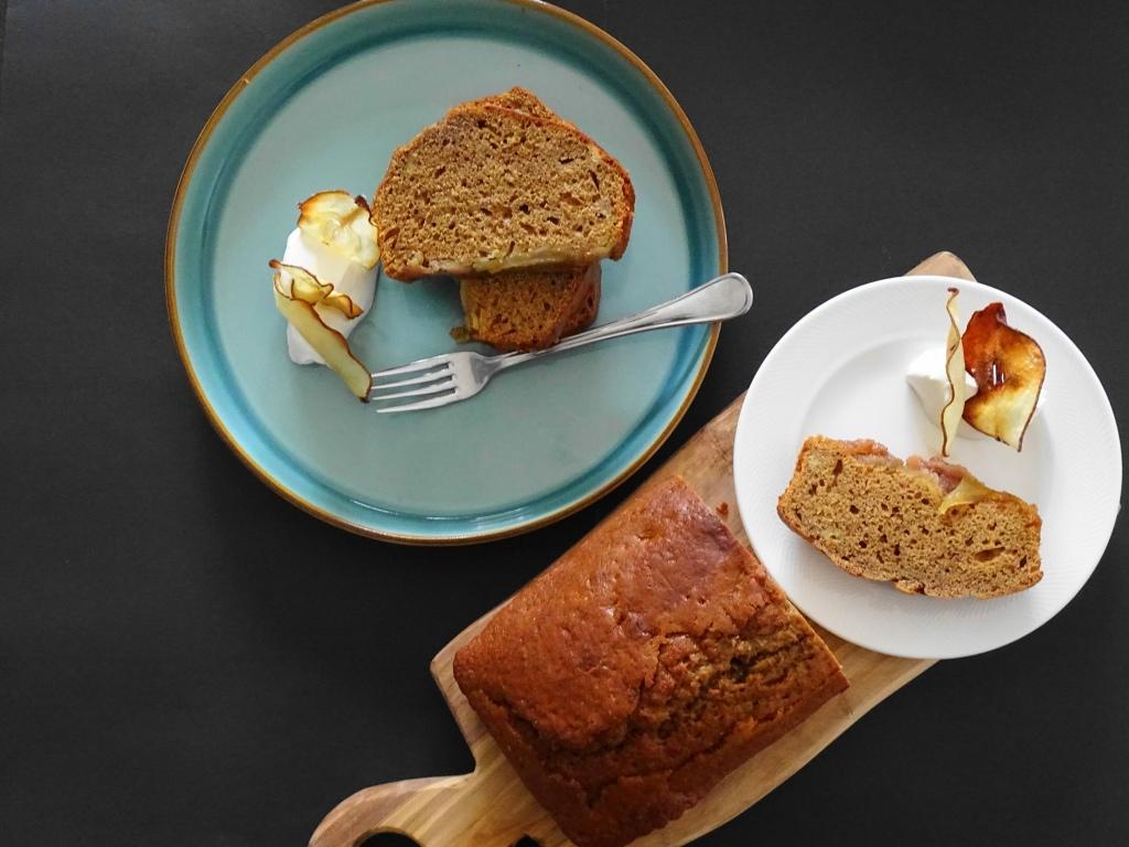 Carmelized pears, banana & sourdough starter bread, plate, fork, board