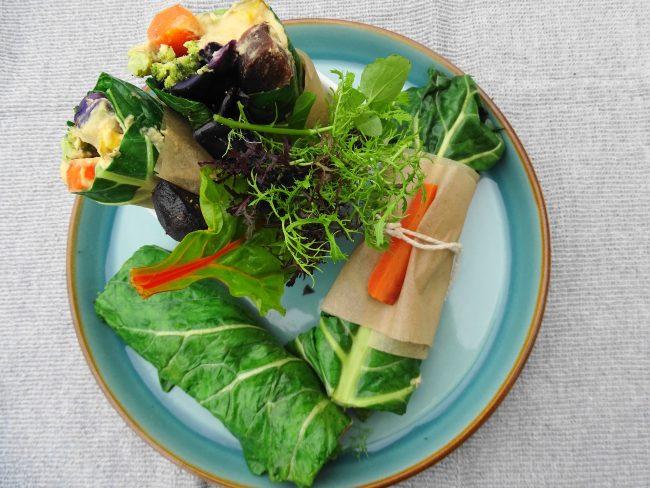 Roasted winter roots, cannellini bean hummus & collard green wrap with celeriac & harissa hummus