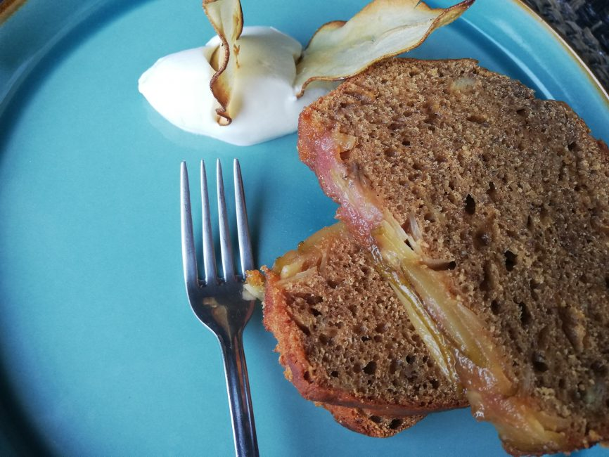 Caramelized pear, banana & sourdough starter bread, plate, fork, sour cream