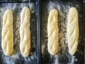 Sourdough baguettes ready for the oven
