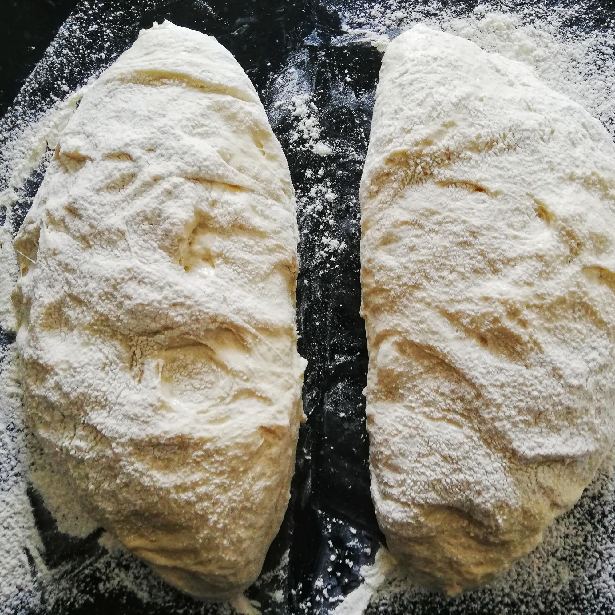 Ciabatta dough split in two