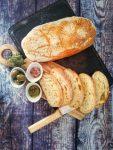 Food image,Ciabatta loaves, olives, seasalt, olive oil