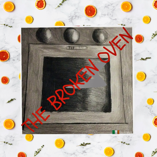 sketch of broken oven, logo