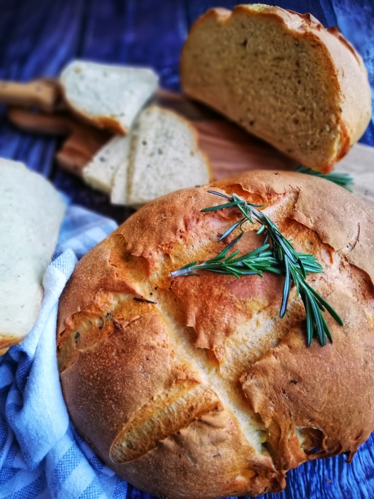Food photography rosemary, garlic, & olive oil loaf
