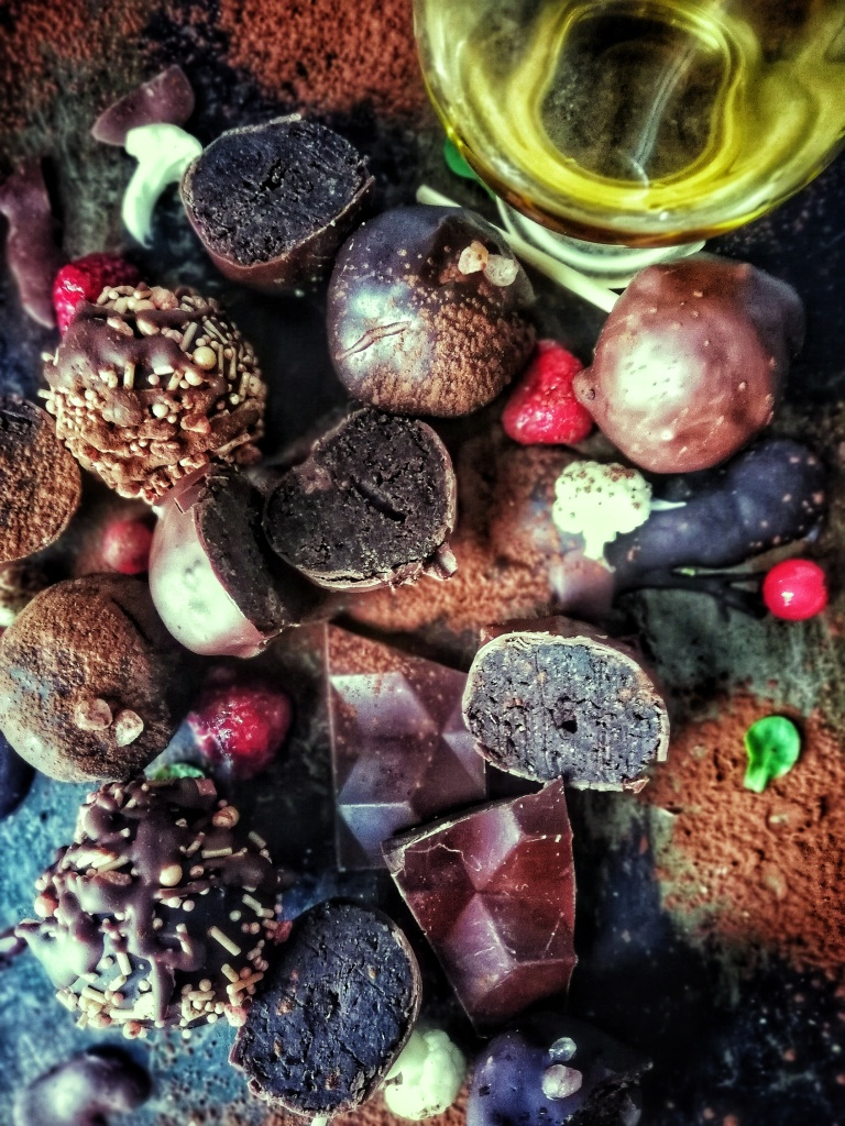 Decorative chocolate cauliflower truffle