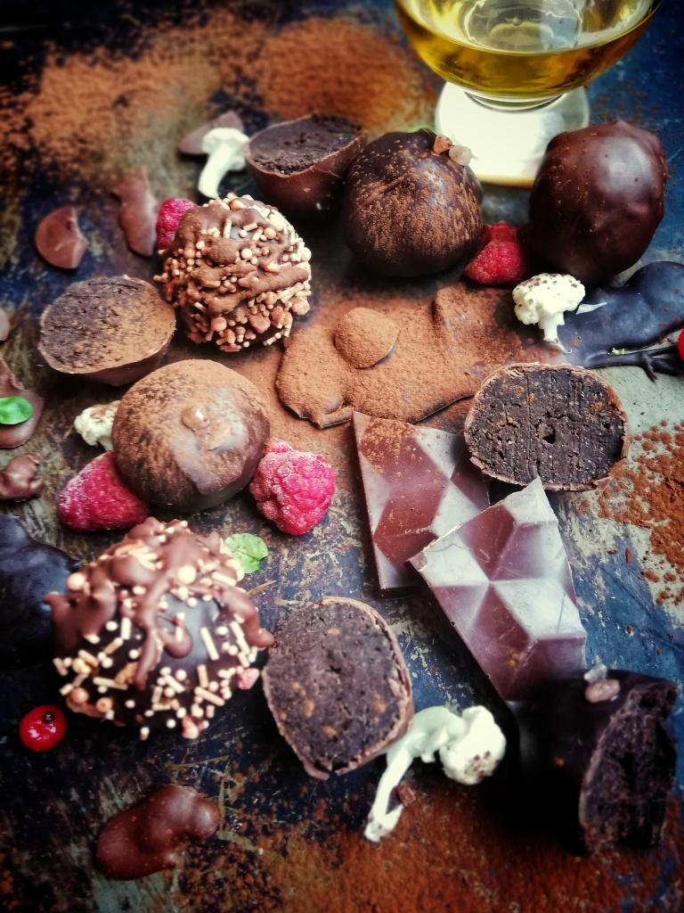 Food photography,chocolate, Irish whiskey, cauliflower truffles, glass whiskey, Cocoa powder