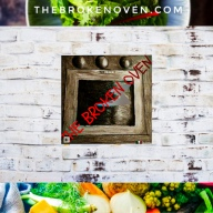 Logo, sketch of oven, food photography vegetable banner bottom, salad top banner, background white brick wall,
