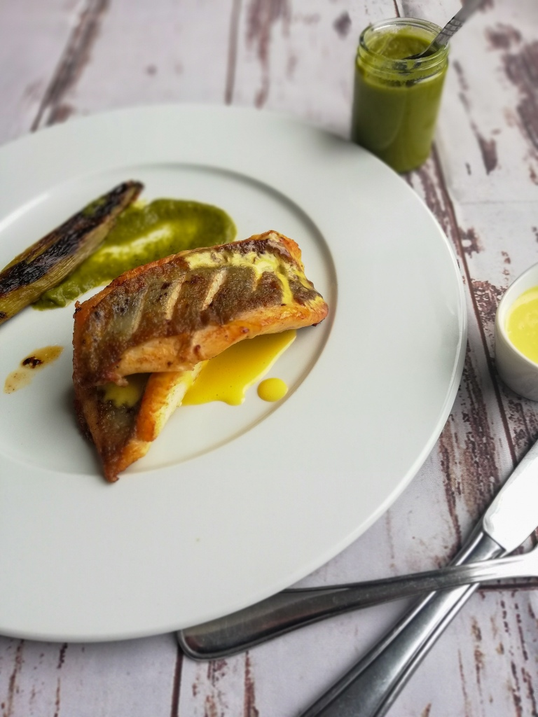 Food photography, plated Pan-fried, John Dory fish, fennel puree, Miso hollandaise