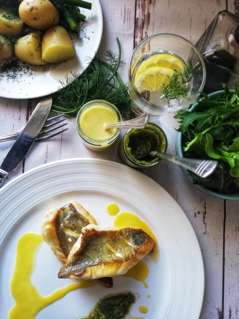 Food photography, Pan-fried john dory, Miso hollandaise sauce, fennel confit puree, salad,. Baby potato