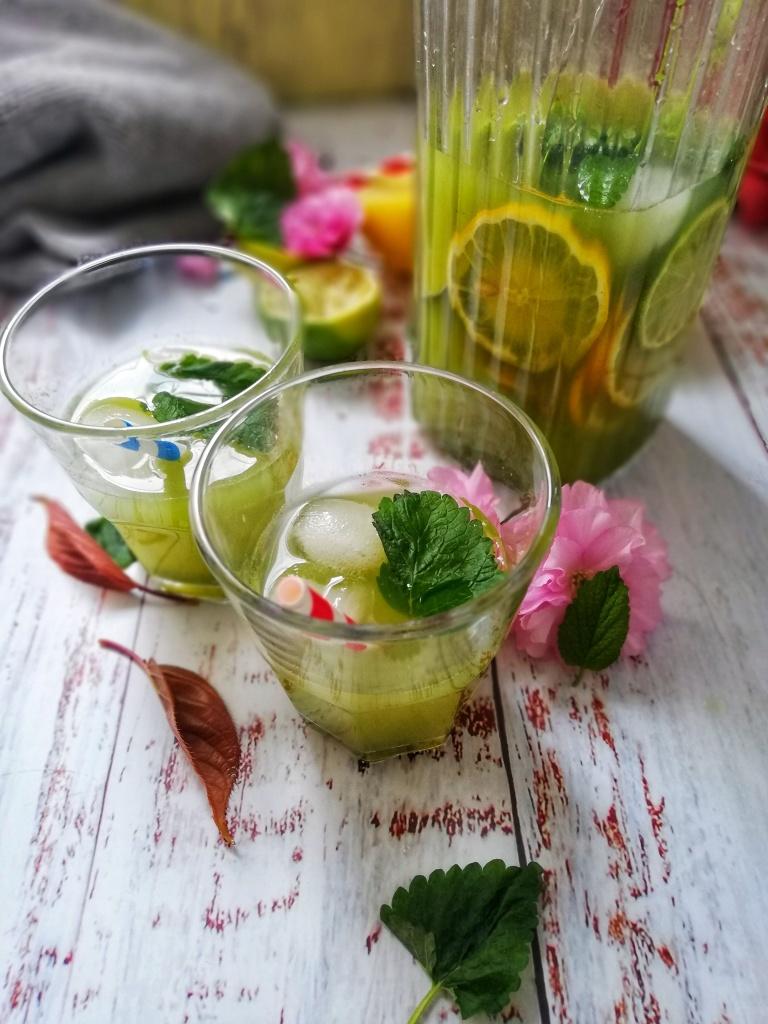 Food photography,Lemon balm & lime lemonade, jug, glasses