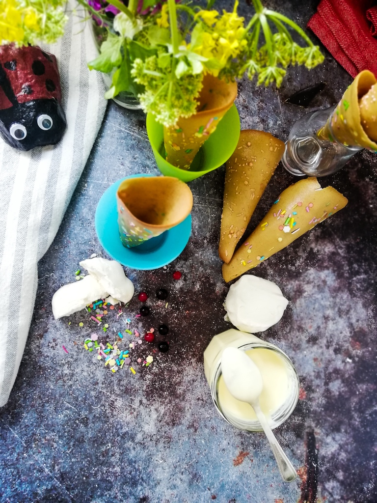 Food photography, sugar cones shells, creme anglaise sauce.
