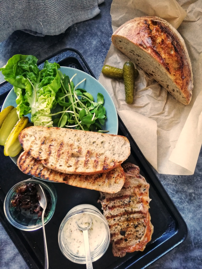 Food photography, Ingredients for the steak sandwich