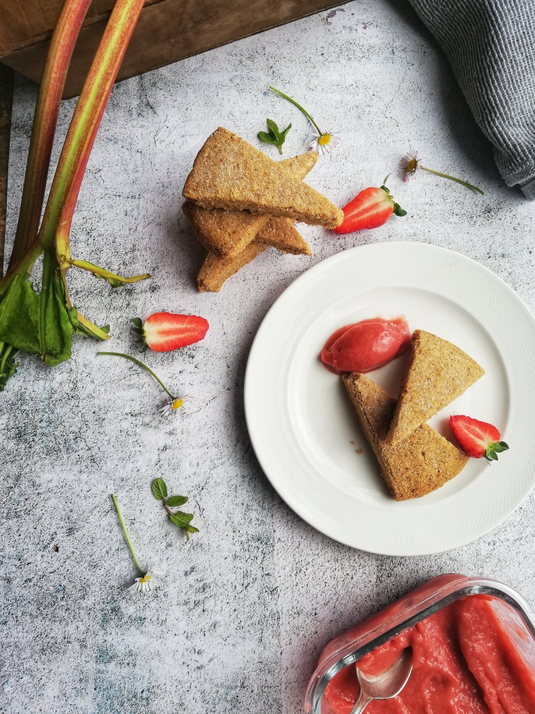 Plated spelt and rye shortbread, strawberry and rhubarb sorbet