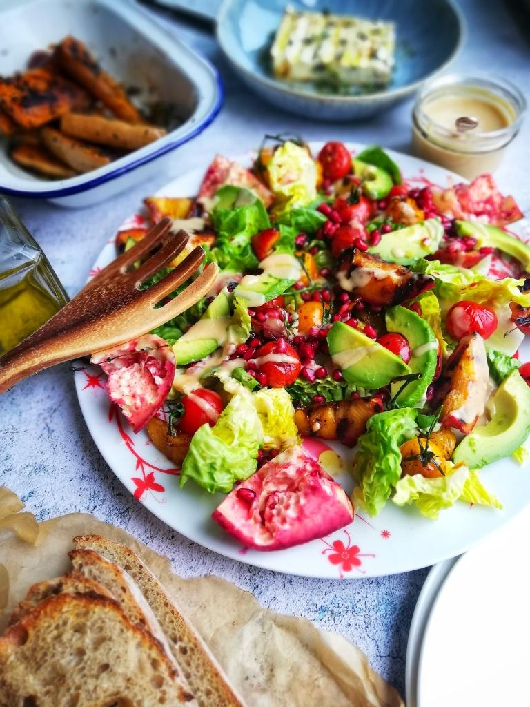 Food photography, salad platter,griddled squash, thyme & honey feta,