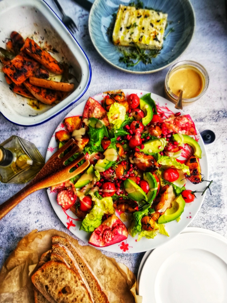 Food photography,Summer salad platter,griddled squash, thyme & honey feta, Miso dressing.