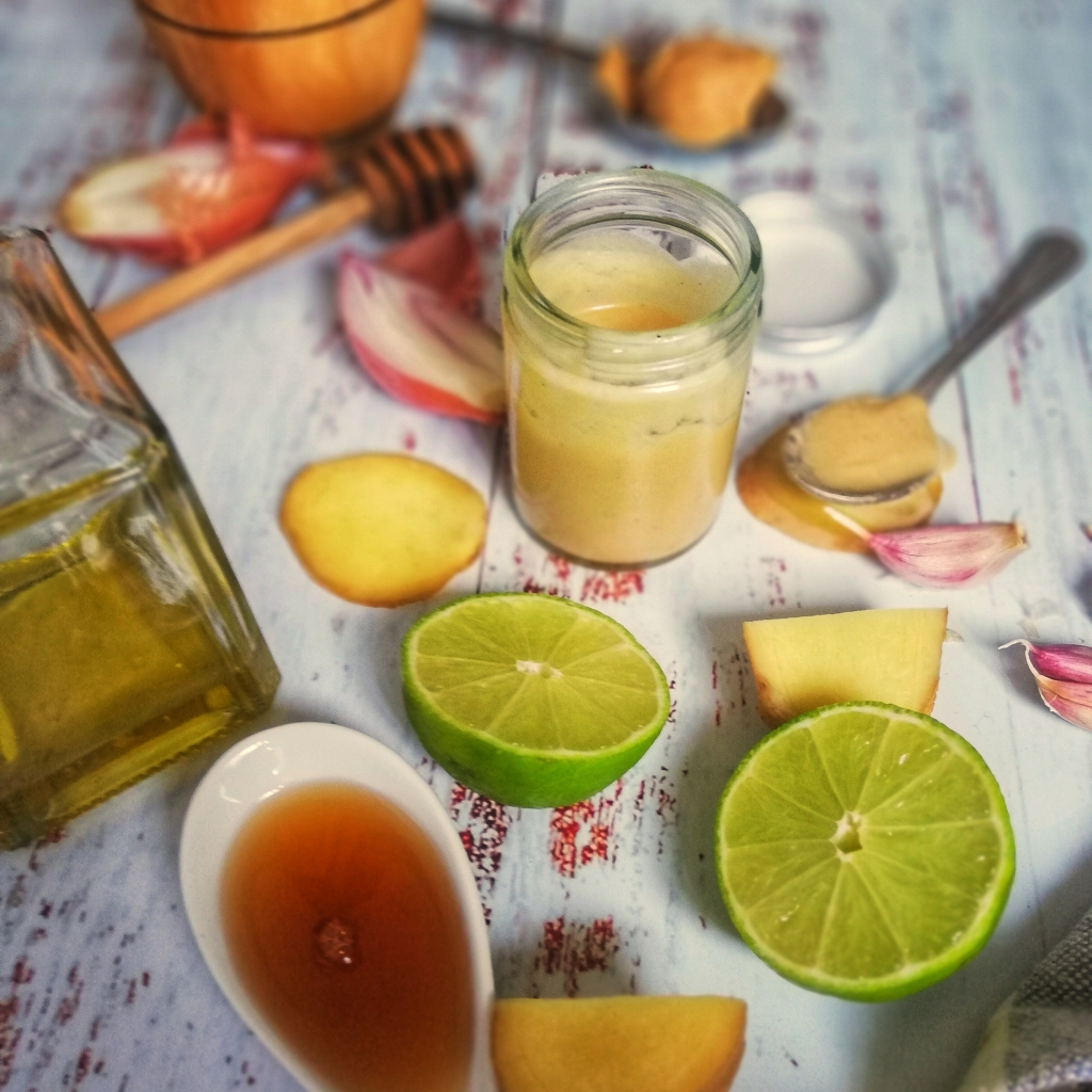 Ingredients for Miso dressing, lime, garlic, ginger, shallot sesame &olive oi