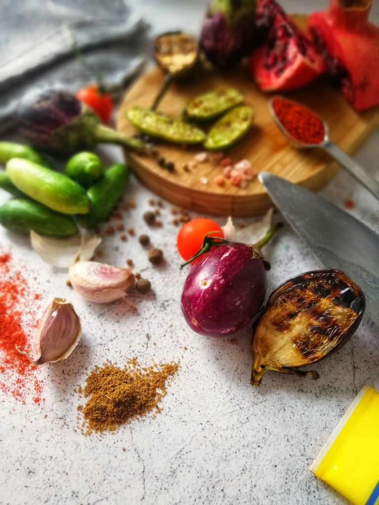 Food photography, Aubergine, spices, seasoning, garlic, for chilli