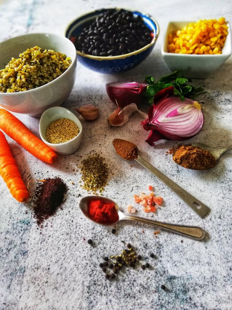 Food photography,Ingredients for black bean & freekeh burger