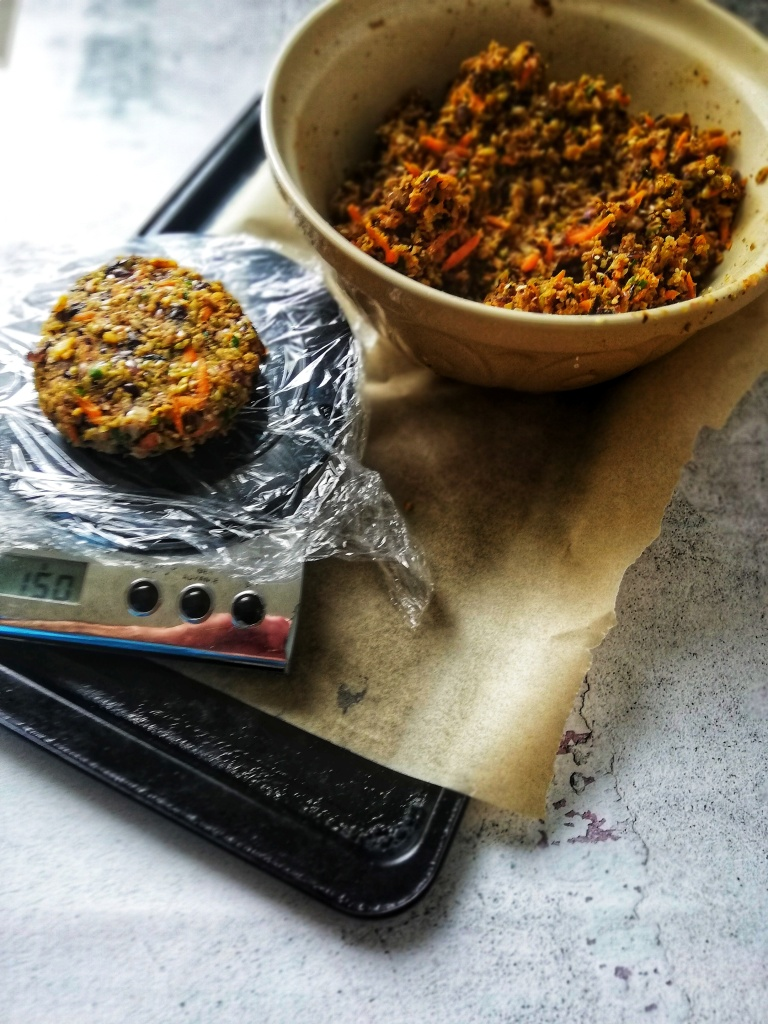 Shaping the black bean freekeh burger mix