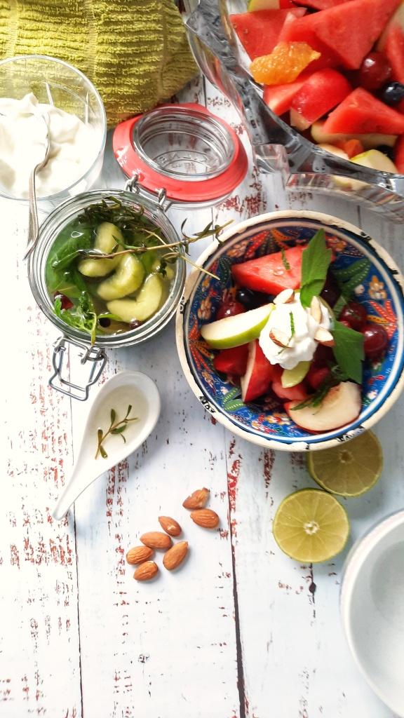 Fruit salad, yogurt, Stock syrup