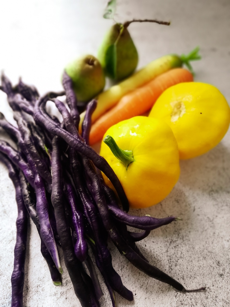 Image, Purple beans, Patty pan squash, carrots and pears from the garden